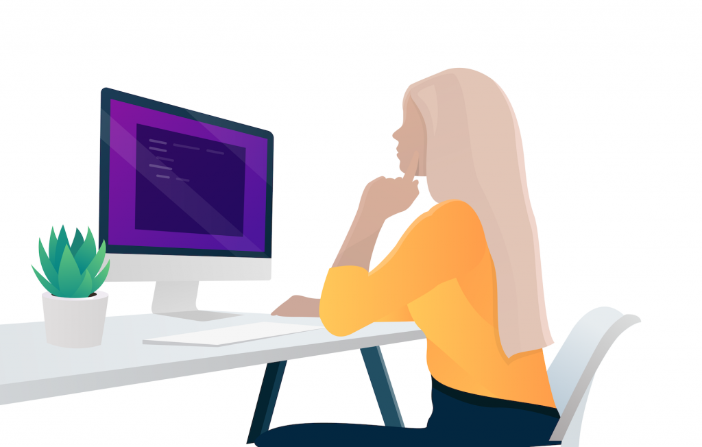 app idea. Illustration of a woman sitting at her Mac screen